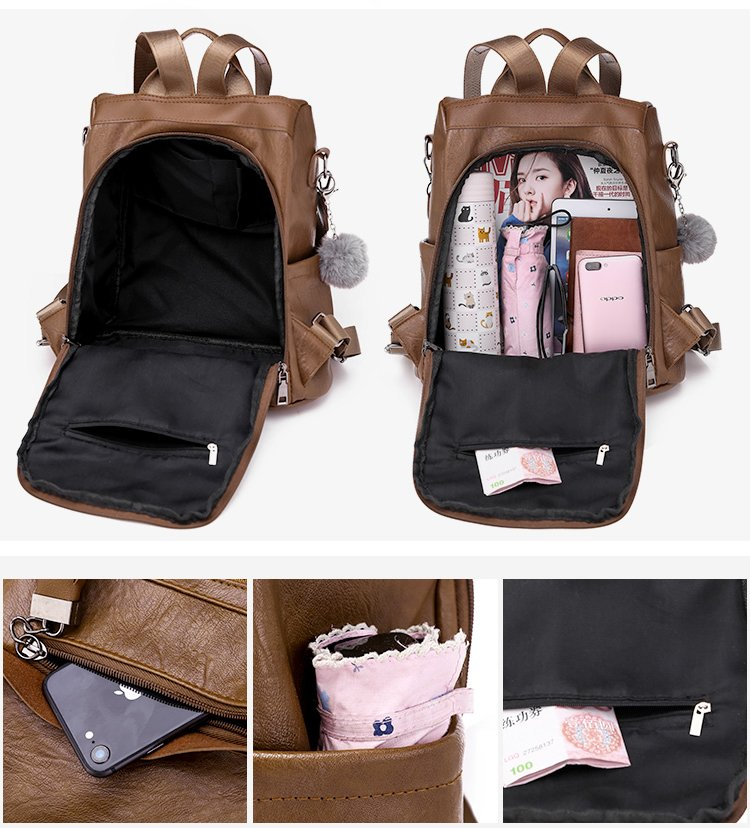 Solid Color Casual Multi-function Fashion Wild Dual-use Backpack