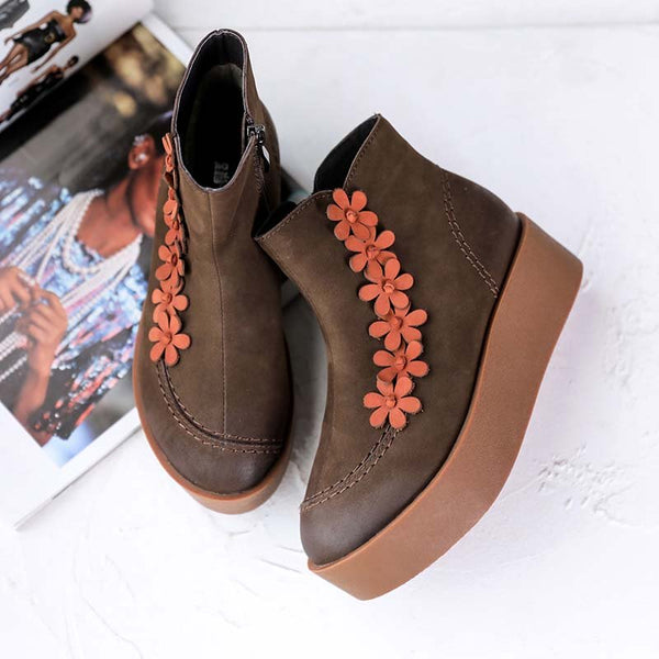 Block Heel Flower Fall Boots
