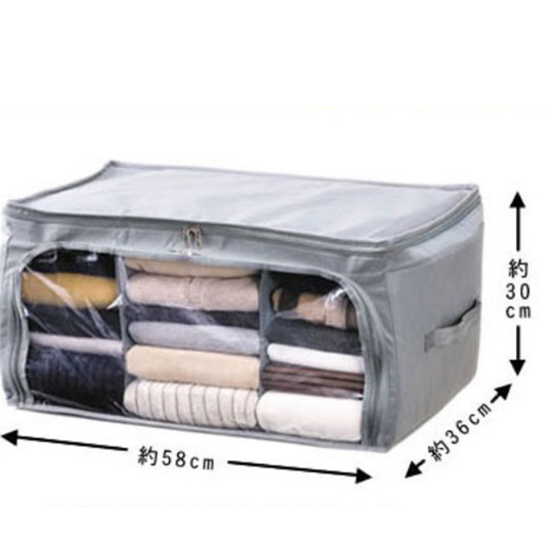 Bamboo Visible Charcoal Folding Double Open Clothes Storage Bags(All Buy 1 Get 2nd More 20% OFF; Buy 2 Get 3rd more 30% OFF)