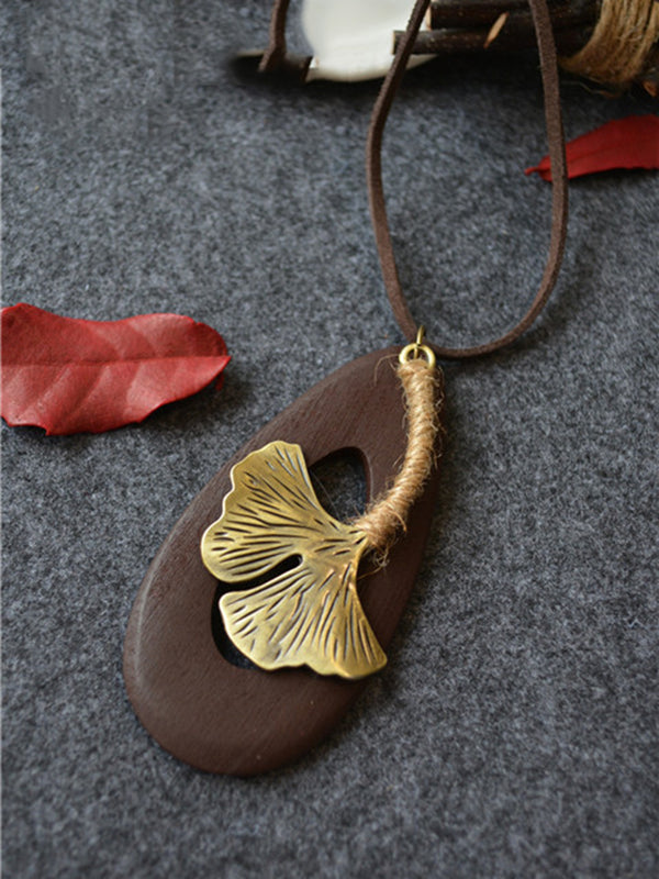 Wood Water Drop Leaf Handmade Vintage Necklace