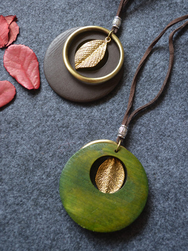 Wood Metal Geometry Vintage Leaf Necklace