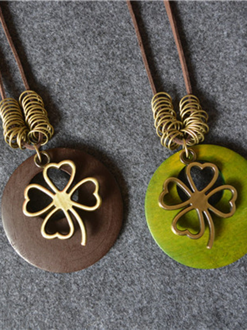 Four-leaf Clover Metal Charm Necklace