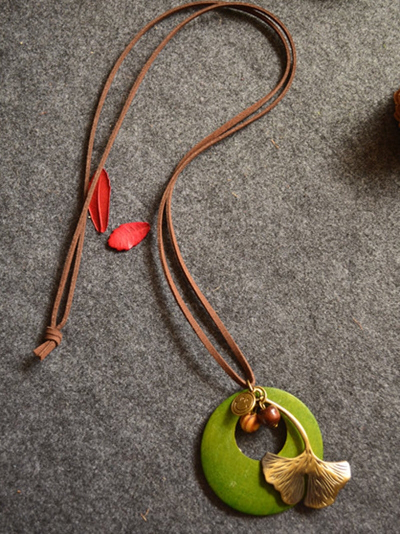 Leaf Metal Round Wood Retro Necklace