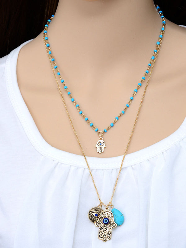 Turquoise Turkish Blue Eyes Fatima Palm Bead Necklaces