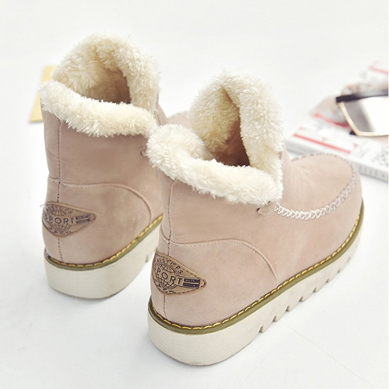 Big Size Pure Color Warm Fur Lining Winter Ankle Snow Boots For Women