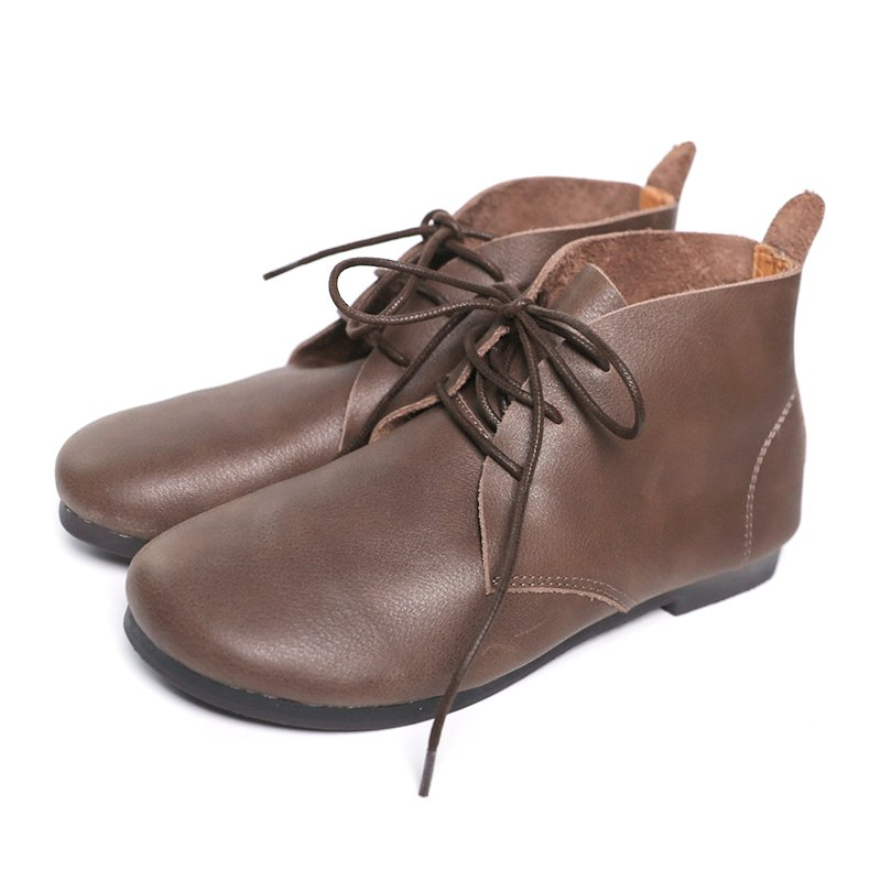 Brown Lace-Up Flat Heel Winter Boots