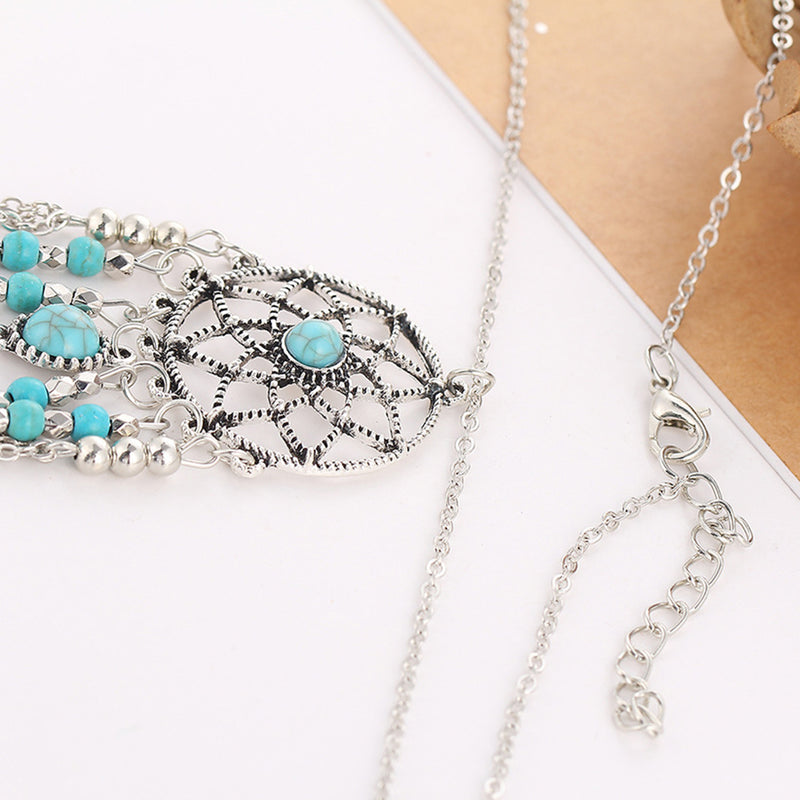 Rhinestone Hollow Out Woven Tassel Chain Necklace