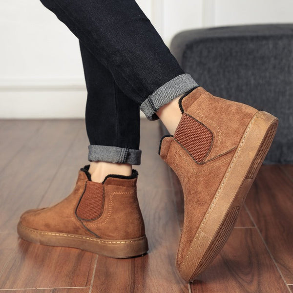 Women's Faux Suede Slip On Casual Ankle Boots