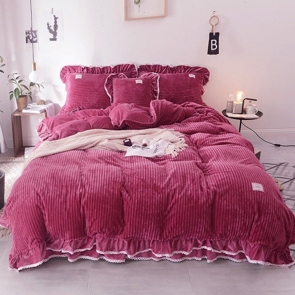 4Pcs Coral Fleece Crystal Velvet Bedding Set Full Queen King Quilt Duvet Cover Bed Skirt Pillowcase