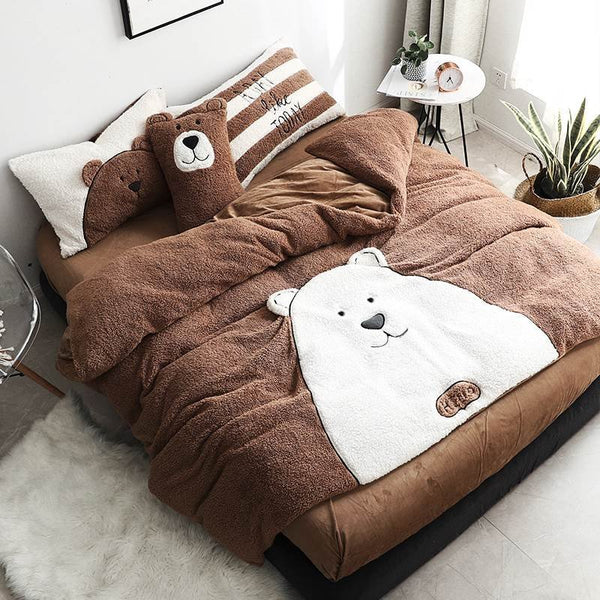 4Pcs Shearling Flannel Bedding Set Brown Bear Winter Twin Queen King Quilt Duvet Cover Bed Sheet