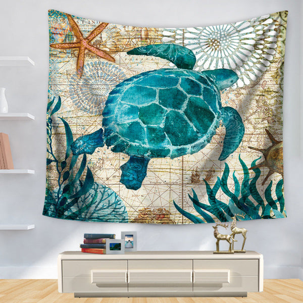 Sea Turtle Octopus Sea Horse Wall Hanging Tapestry Decorative Table Cloth Bedroom Blanket Yoga Mat