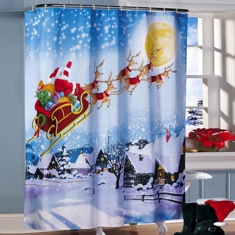 180*180cm Christmas Sleigh Printing Shower Curtain Waterproof Bathroom Decoration Curtain
