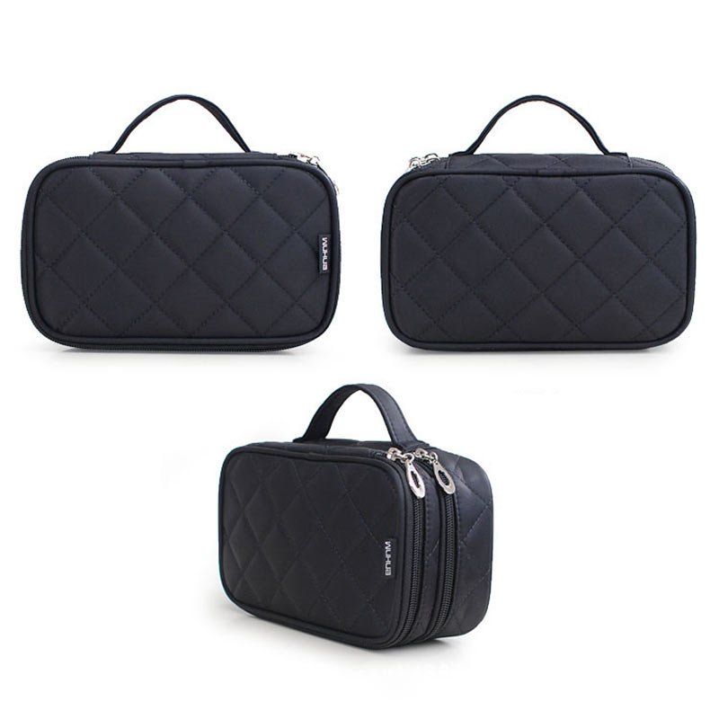 Large Double Layers Travel Cosmetic Bag Portable Makeup Organizer Toiletry Storage Bag