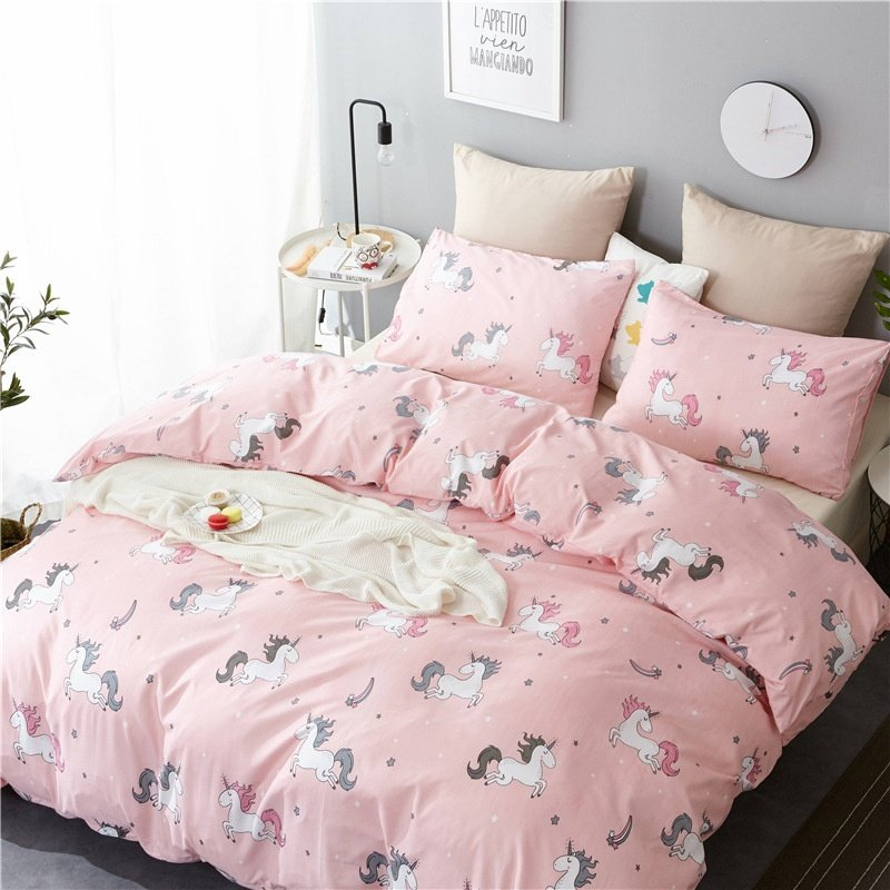 Pink Unicorn Romantic Double Stripes Banana Leaf Quilt Cover Pillowcase Bedding Set