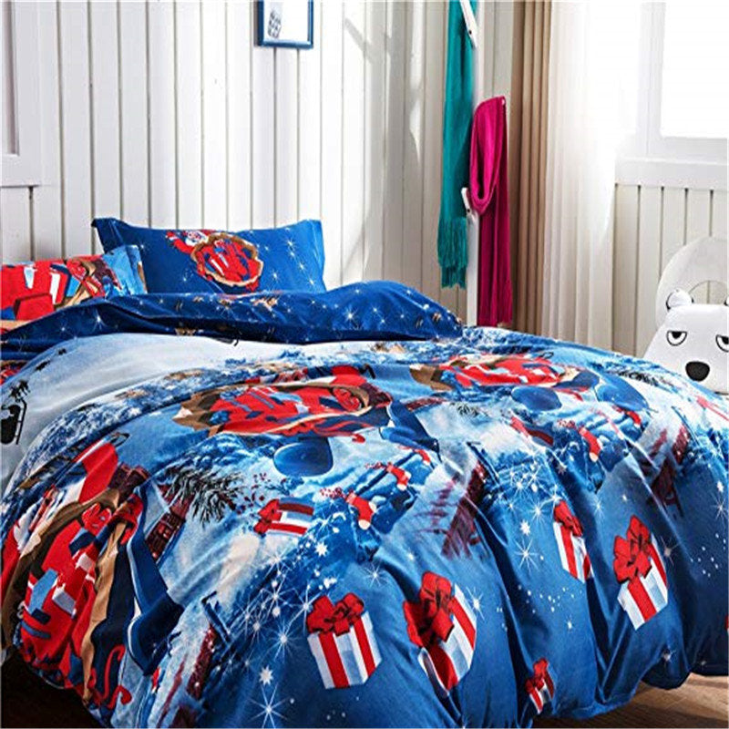 4pcs Christmas Theme Soft Polyester Cotton Sheets Pillow Case Bedding