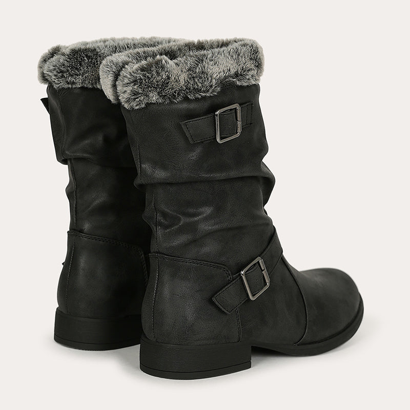 Faux Fur Cuff Buckled Riding Boot Womens Snow Boots