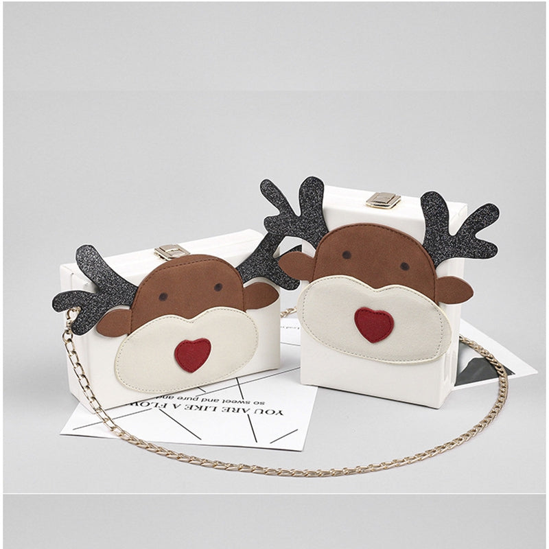 Christmas Moose Chain Retro Small Square Bags