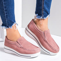 Artificial Suede Wedges Loafers Slip-On Wedge Heel Shoes