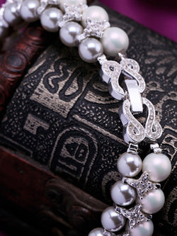 Silver Alloy Imitation Pearl Artificial Diamond Necklace