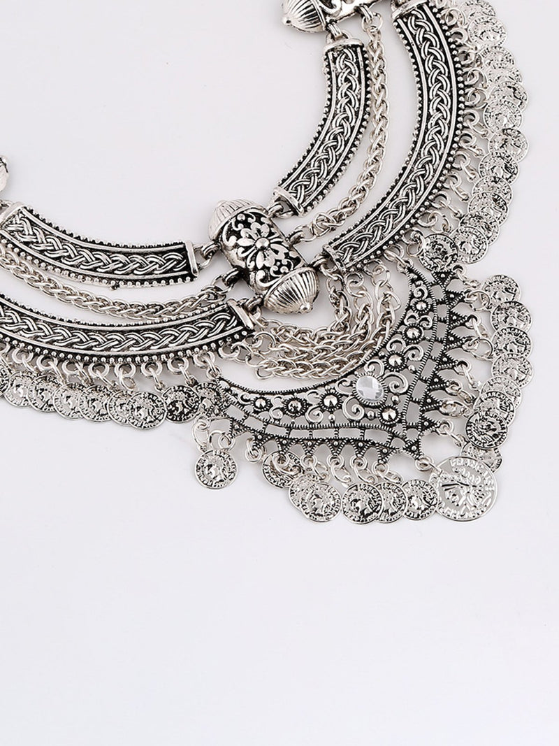 Alloy Artificial Diamond Statement Boho Necklace