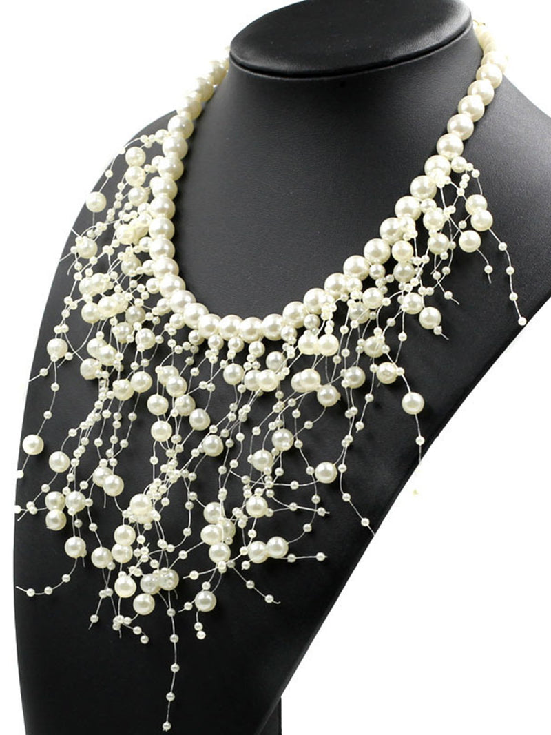 White Imitation Pearl Tassel Women Elegant Evening Necklace
