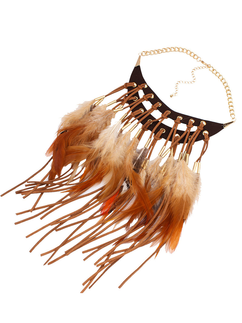 Vintage Alloy Feather Bohemian Women Holiday Necklace