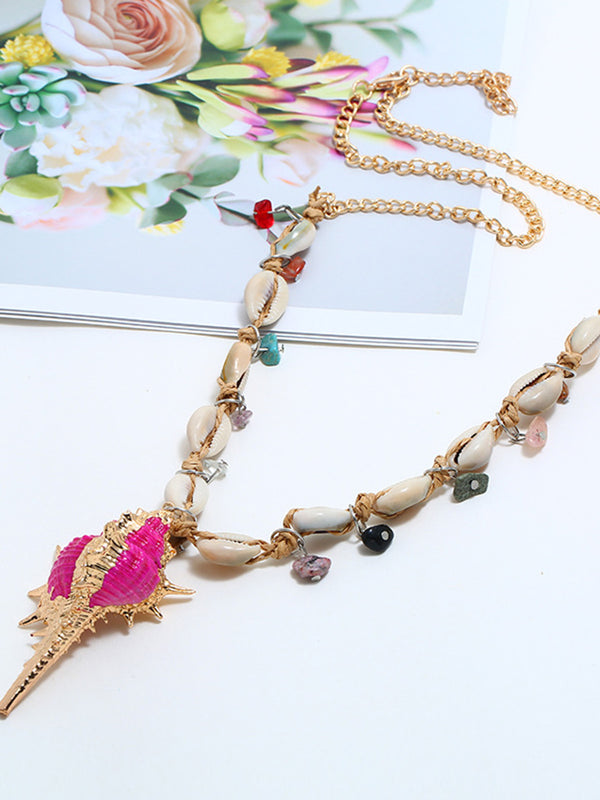 Alloy Shell Colored Necklace