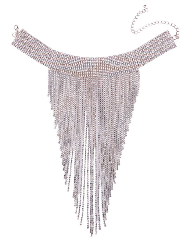 Alloy Artificial Diamond Evening Fringed Women Elegant Necklace