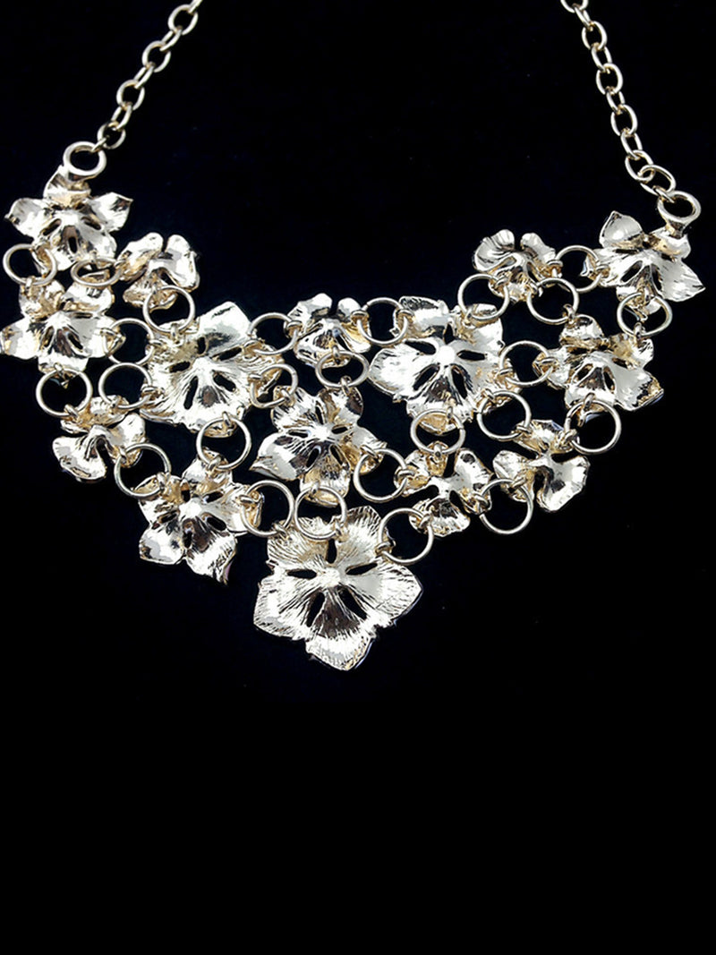 Multicolor Flower Alloy Artificial Diamond PVC Necklace