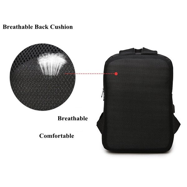 15 Inch Nylon Laptop Bag With Dual USB Charger Casual Business Backpack For Men