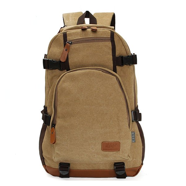 Men Outdoor Canvas Hiking Backpack Laptop Shoulder Bags