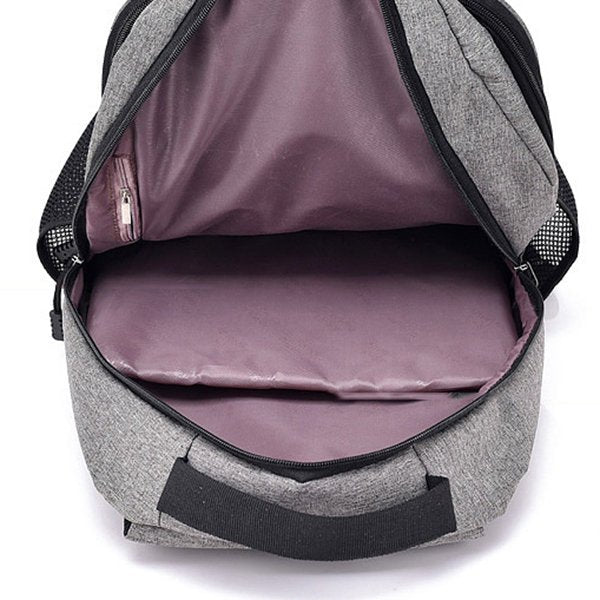 Men Polyester Anti-theft 17 Inches Laptop Bag With USB Charger Backpack