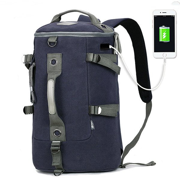 Home»Bags»Men's Bags»Backpacks Canvas Multi-functional Large Capacity USB Charging Port Backpack Travel Bag For Men