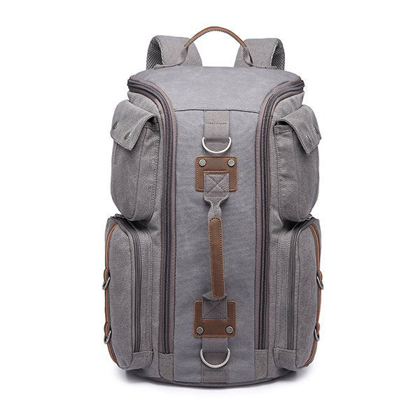 Big Capacity Canvas Travel Backpack Multi Pocket Triple-use Crossbody Bag Handbag For Men