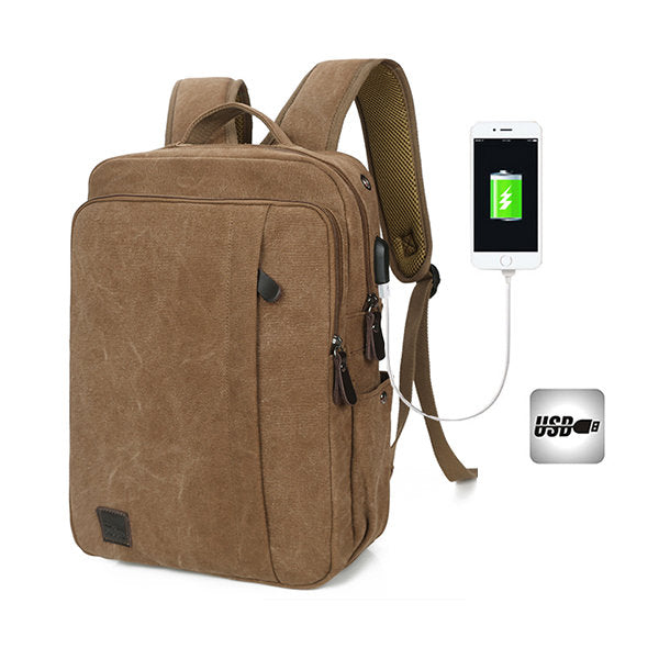 Canvas External USB Faucet Portable Charged Travel Backpack For Men Women