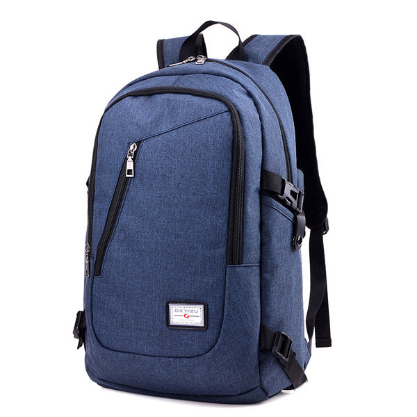 Canvas Anti-theft Laptop Bag With USB Charging Port Casual Business Backpack For Men Women