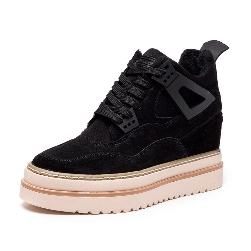 Women Round Toe Lace-Up Creepers Heel Warm Boots