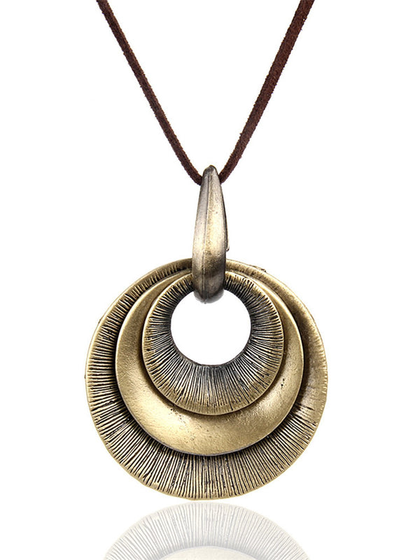 Womens Round Alloy Sweater Necklaces