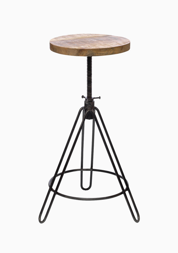 Arvi Adjustable Bar Stool - Industrial rustic style