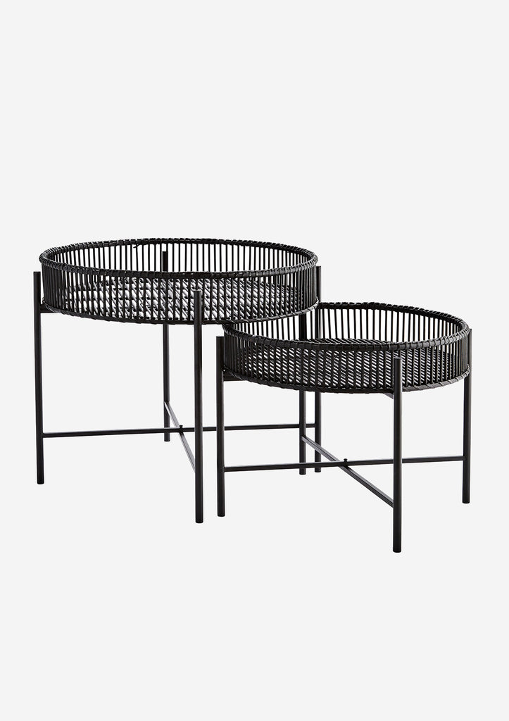 Black Bamboo and Iron Round Circular Side Tables