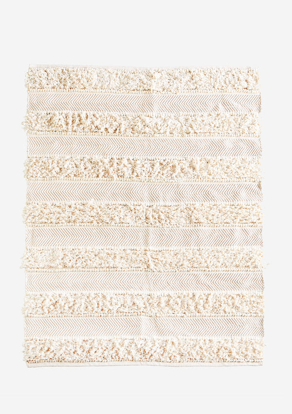 Chindi Rug With Fringes in Cream / Natural Cotton / Gold Thread