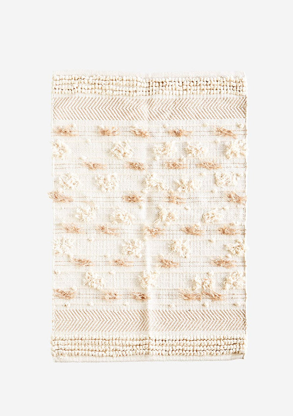 Chindi Rug With Fringes and Pom Poms in Cream / Natural Cotton