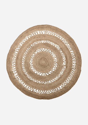 Woven Jute Circular Round Rug with Detailing