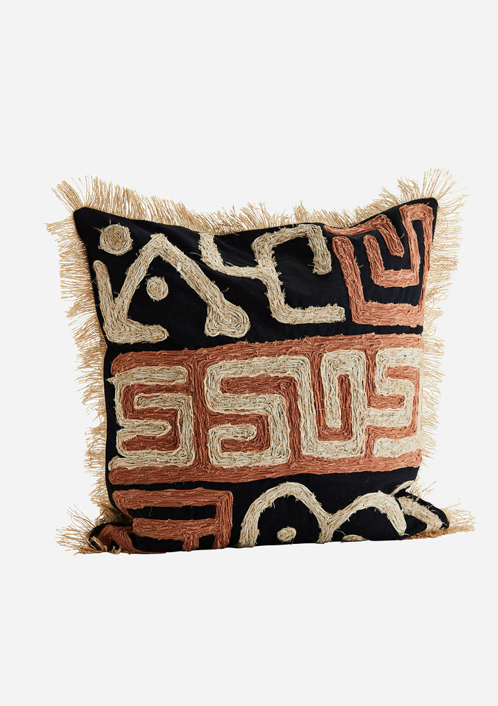 Cotton and Jute Cushion with Pattern and Tassel Detailing