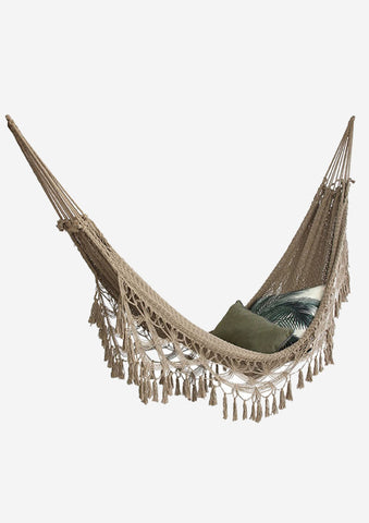 Hand Knotted Cotton Hammock in Oat