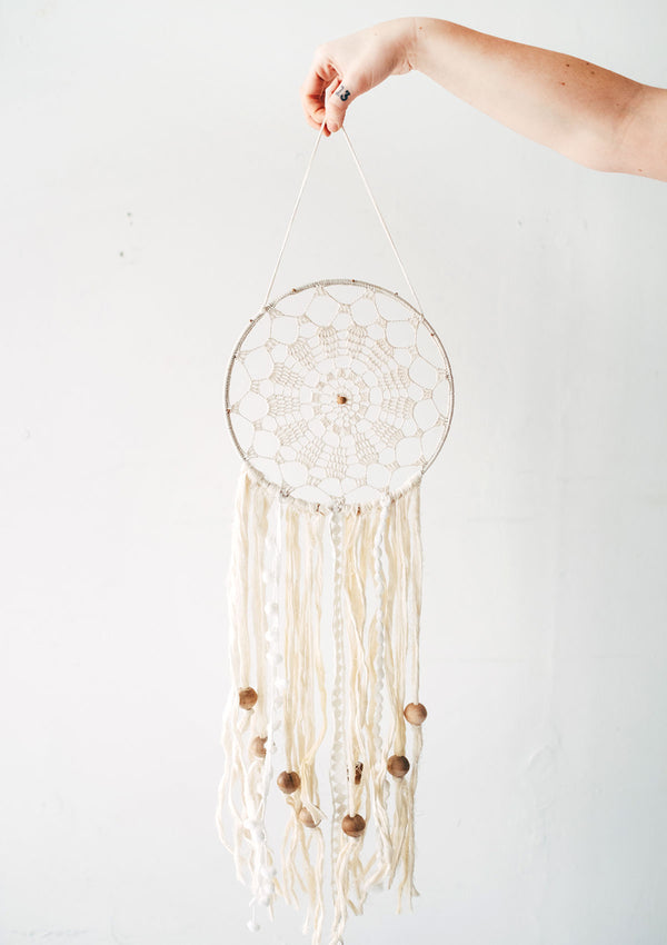 Dream Catcher Wall Hanging Crafted From Wooden Beads & Cotton