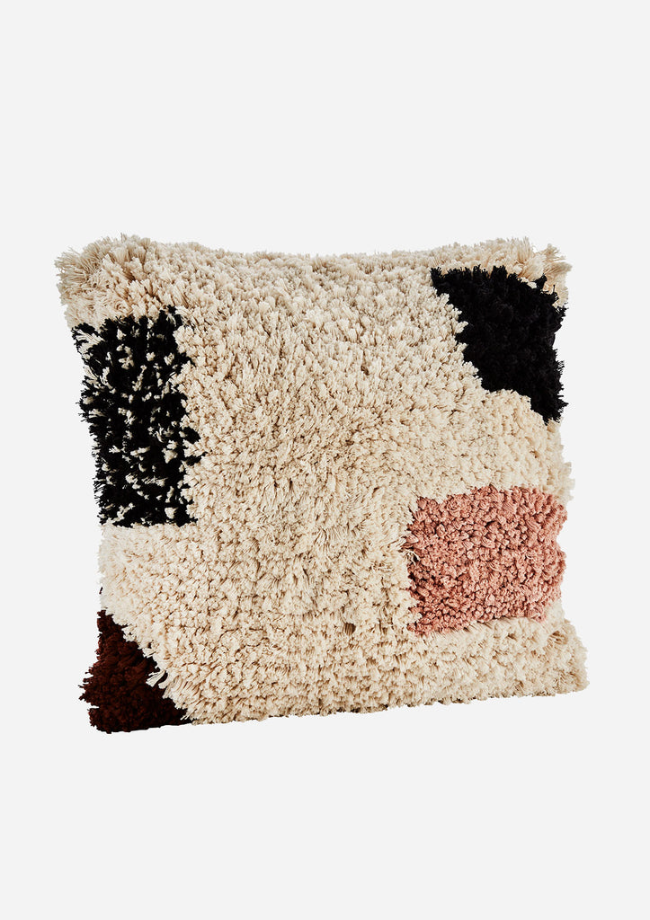 Fringes Cushion - Rose, Cream and Black
