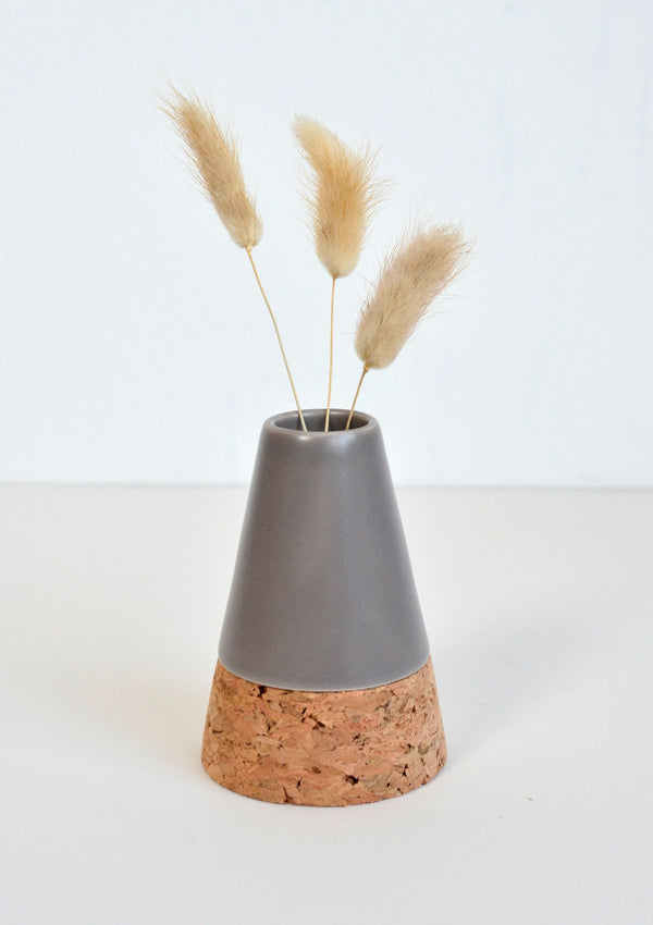 Cork and Grey Stoneware Vase with Dried Flower Bunch