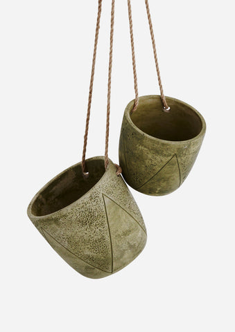 Hanging Concrete Plant Pots - Sage Green - Set of 2