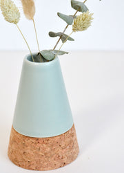 Cork and Mint Green Stoneware Vase with Dried Flower Bunch
